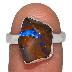 Sterling and Boulder Opal Ring 8